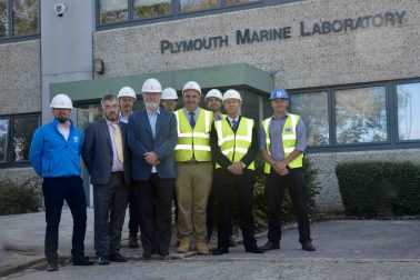 Construction handover of Plymouth Marine Laboratory group shot outside newly refurbished building